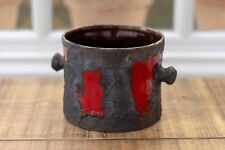 West German Roth Fat Lava Planter - Red with Black Lava - Excellent Condition