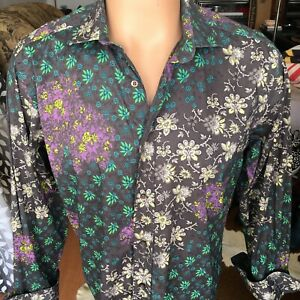 ETRO Milano Men's Floral Print Button Front Shirt Long Sleeve Size 42 Italy