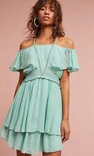 anthropologie elisa ruffled dress by maeve, size large, nwt
