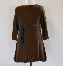 Girls Willow and Finn Long Sleeve Knit Dress Brown Waist Tie - Size 4-5yrs BNWT