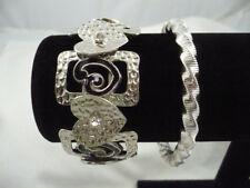 Lot 2 stretch silver tone bracelets black enamel & heart w/ RS & unique slinky