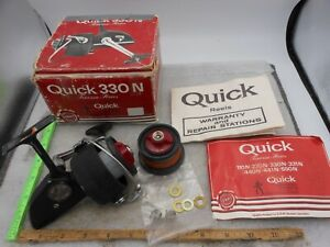 VINTAGE DAM Quick 330N GERMANY Spinning FISHING Reel with Manual Papers & Parts