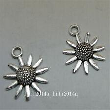 15pc Tibetan Silver sunflower Charm Bead Pendant Jewellery Making Findings PL837
