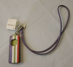 New NWT Coach Stiped Leather Strap Ipod shuffle 3 gen case. Very Nice