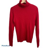 NWT Jeanne Pierre Women's Long Sleeve Pullover Turtle Neck Sweater, Cable, Red,M