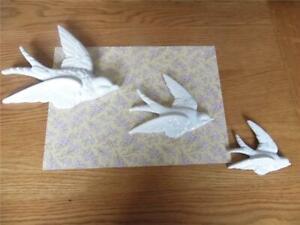 FAB VINTAGE SET THREE FLYING SWALLOWS SHABBY RETRO CHIC WHITE WALL PLAQUES DECOR
