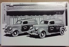 """1936 Ford Sedan Delivery Sweet Caporal Cigarette 12 By 18"""" Black & White Picture"""