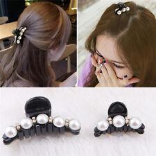 Fashion Korean Style Pearl  Black Ladies Hair Clips Claw Barrette Clamp;luS L3