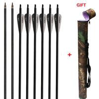 Archery 12Pcs 31'' Carbon Arrows Hunting Target Recurve Compound Arrow Quiver