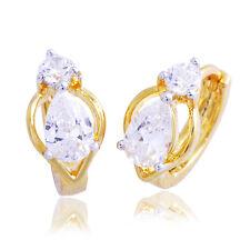 Womens Crystal Small Teardorp Hoop Earrings Lucky Jewelry 2 Tone Gold Plated