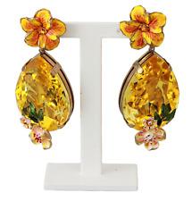 Dolce & Gabbana Earrings Green Crystal FIORI Floral Clip on Dangling Japan