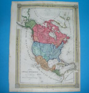 1850 UNUSUAL ORIGINAL MAP TEXAS CALIFORNIA FLORIDA UNITED STATES CANADA MEXICO