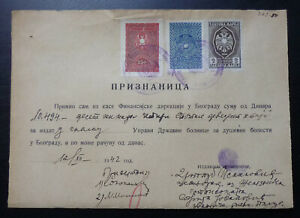 Yugoslavia 1942 Revenue Stamps on Document B3