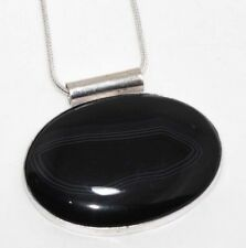 """Banded Black Onyx 925 Sterling Silver Plated Necklace 16"""" GW"""