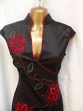 Oriental Black Red Elegance LONG Chinese dress 8 10