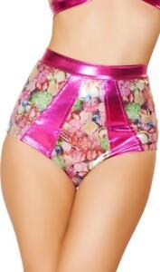 Jewels Gems High Waisted Shorts Retro Contrast Trim Hot Pink Metallic SH3123 XL