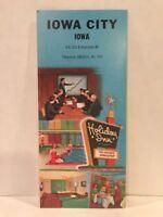 1960s VINTAGE HOLIDAY INN IOWA CITY IA Hotel Motel Travel Brochure & Map