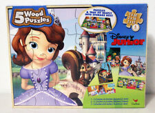 5 Wood Puzzles Disney Junior 'Sofia The First'-New-Come in Storage Box-Ages 5+