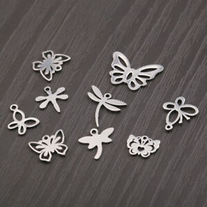 20X Stainless Steel Animal Owl Butterfly Dragonfly Elephant Charms