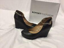 Report Footwear 7.5 Azaria Black Women's Wedge Shoes