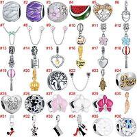 European Silver Heart Bead CZ Pendant Charms Fit 925 sterling Bracelet Necklace