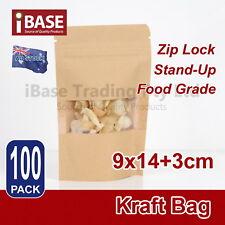 Stand Up Bag Kraft Paper Seal Packaging Window Zip Lock Pouch Food Sealing FREE