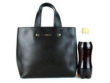 Furla Chocolate & Gray Leather Ladies Mini Tote Hand Bag Purse Made Romania Good