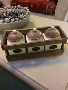 VINTAGE Porcelain Tea Coffee Sugar Caddy Canister Set in Wooden Rack Shelf