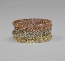 14k Rose, White And Yellow Gold Twisting Stackable Eternity Band Ring Size 6.5