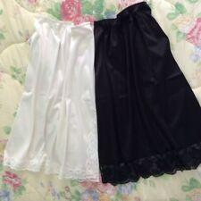 2 x Half Slips Long Knee length UK 12 Black + White/Cream Waist Petticoat + Lace