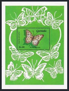 Grenada 1756-1757,1760,1763,1765 sheet,MNH. Butterflies 1989.White paacock