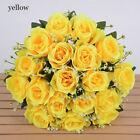 18 Heads Silk Rose Artificial Flowers Fake Bouquet Wedding Home Party Decor