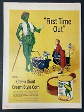 1952 magazine ad for Green Giant Cream Style Corn - Jolly Green Giant introduces