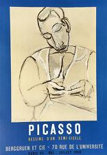Pablo Picasso Lithograph Poster Dessins D' Un Demi Siecle Limited Mourlot 1956