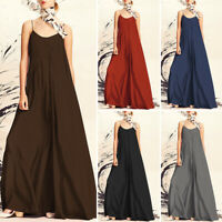 AU 8-24 Women Summer Maxi Dress Strap Sleeveless Loose Plus Size Long Sundress
