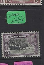 CEYLON   (P1701BB)  KGVI   50C  ELEPHANTS  SG 394D   VFU