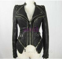 Ladies Punk Womens PU Leather Spike Motor Europe Studded Sexy Jacket Zipper coat