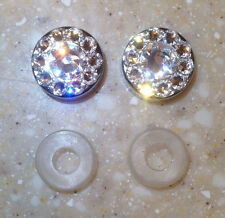 2 License plate frame screw cap covers made with Swarovski Crystals
