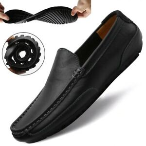 Men's Genuine Leather Driving Casual Flats Shoes Italian Men Loafers Moccasins