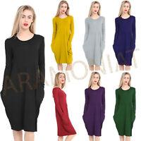 New Women's Ladies Long Sleeve Legenlook Oversized Pocket Baggy Midi Dress UK