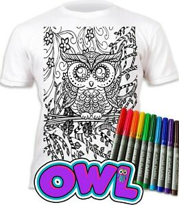 Splat Planet Colour-in Owl T-Shirt 10 Magic Pens-Colour-in and Wash Out