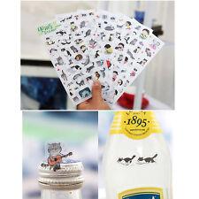 6 sheets/lot DIY Cute Kawaii Cartoon PVC Paper Stickers For Kids Toys Gift US