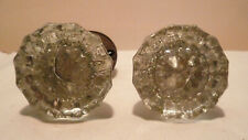 Antique Providence Octagon Glass Door Knob Set with Crystal Arched Rosettes