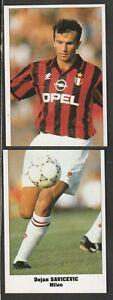 2 FIGURINE CALCIATORI SERVICE LINE STARS PARADE EUROCUPS 1994-95 MILAN SAVICEVIC
