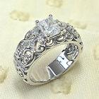 925 Silver Rings Pretty Emerald Cut Cubic Zirconia Anniversary Jewelry Size 6-10