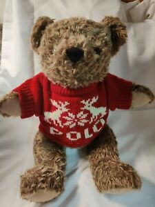 Vintage Polo Ralph Lauren Teddy Bear Brown Plush 1998 Red Christmas Sweater
