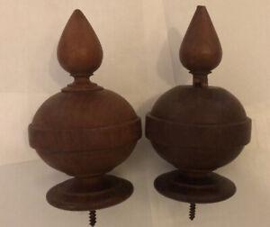 Antique Wooden Finial Knob (Pair)