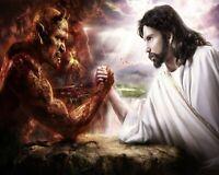 "Catholic print picture-  SATAN VS CHRIST  -   8"" x 10"" ready to be framed"