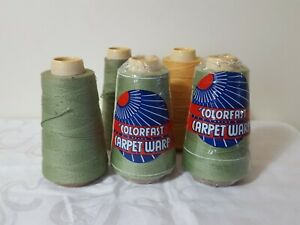 Lot Of 5 Colorfast Carpet Warp Spools    2 Still In Wrapping