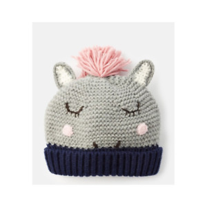 JOULES CHILDRENS CHUMMY KNITTED GREY HORSE CHARACTER HAT 3-7 YEARS RRP £ 16.95